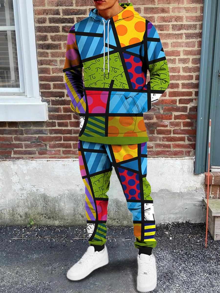 LW Men Color-lump Patchwork Oversized Pants Set