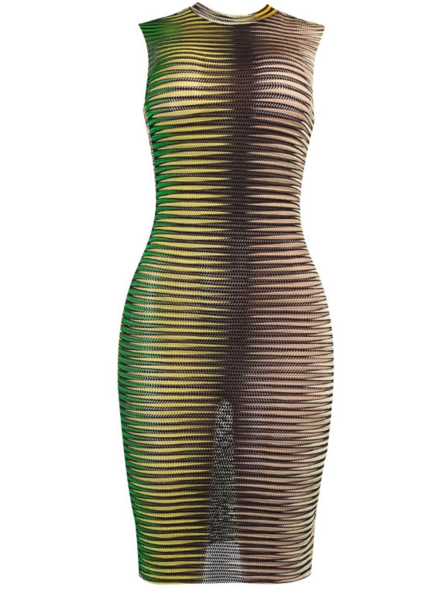 LW Round Neck Gradient Bodycon Dress