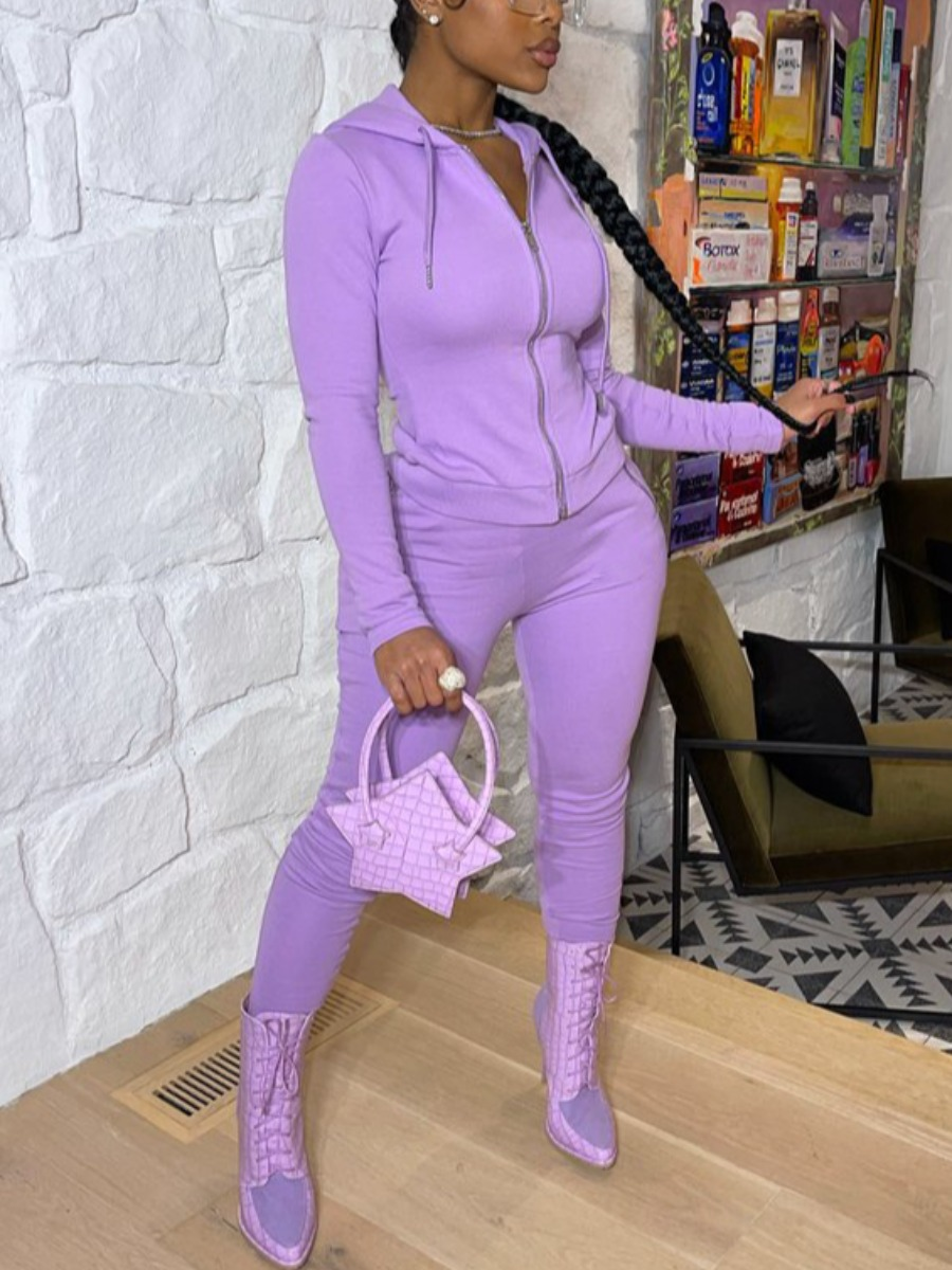 LW BASICS Hooded Collar Zipper Design Pants Set