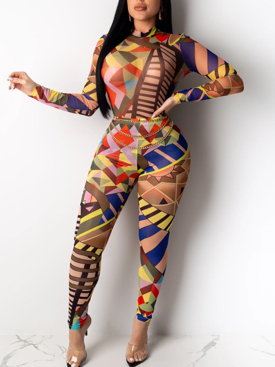 LW Half A Turtleneck Geometric Print Pants Set