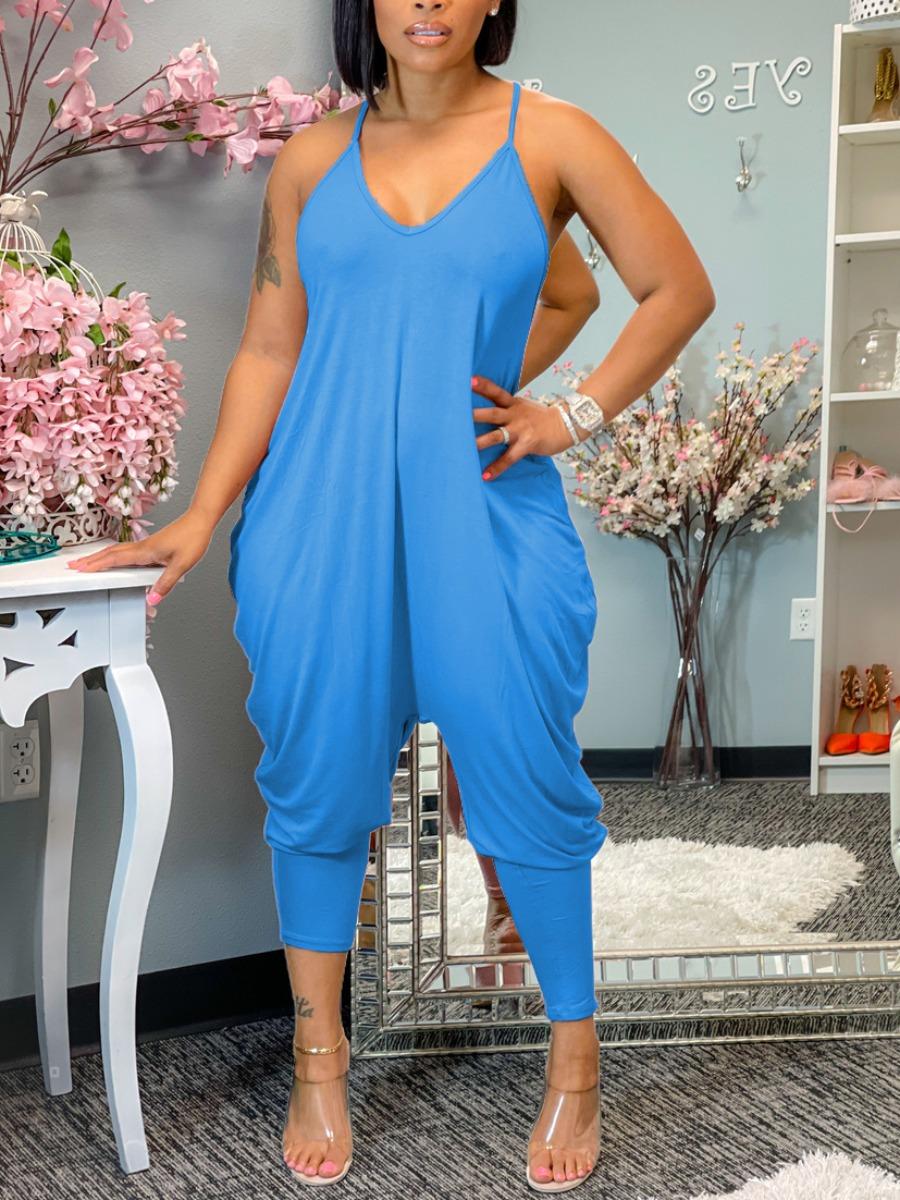 LW Fold Design Cami Harem Jumpsuit