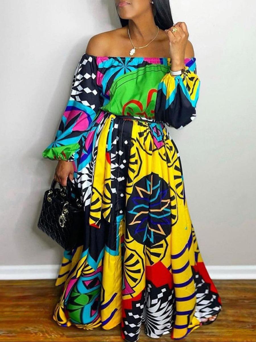 LW Off The Shoulder Mixed Print Dress