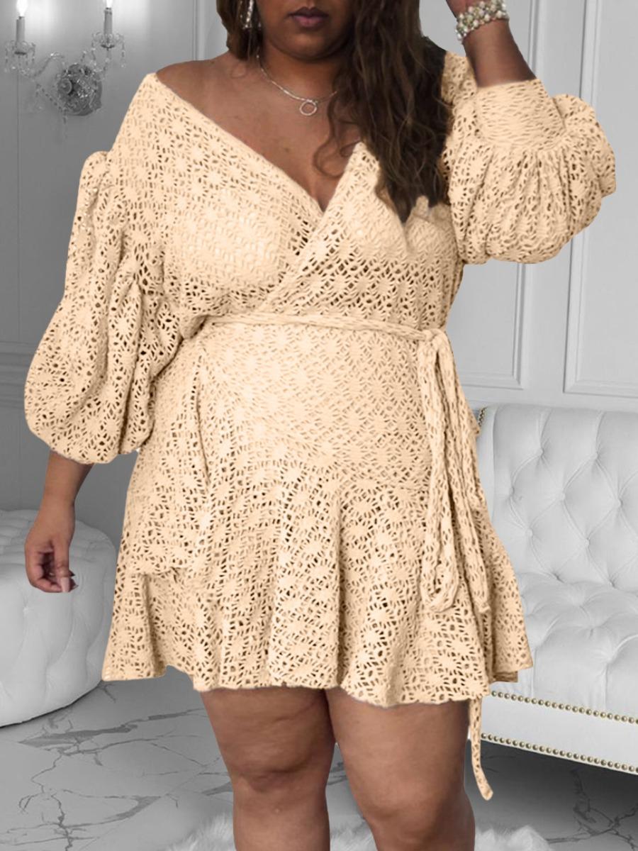 LW Plus Size Hollow-out Ruffle Design A Line Dress