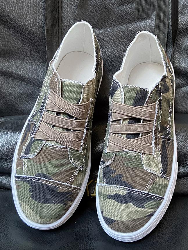 LW Camo Print Slip On Flats