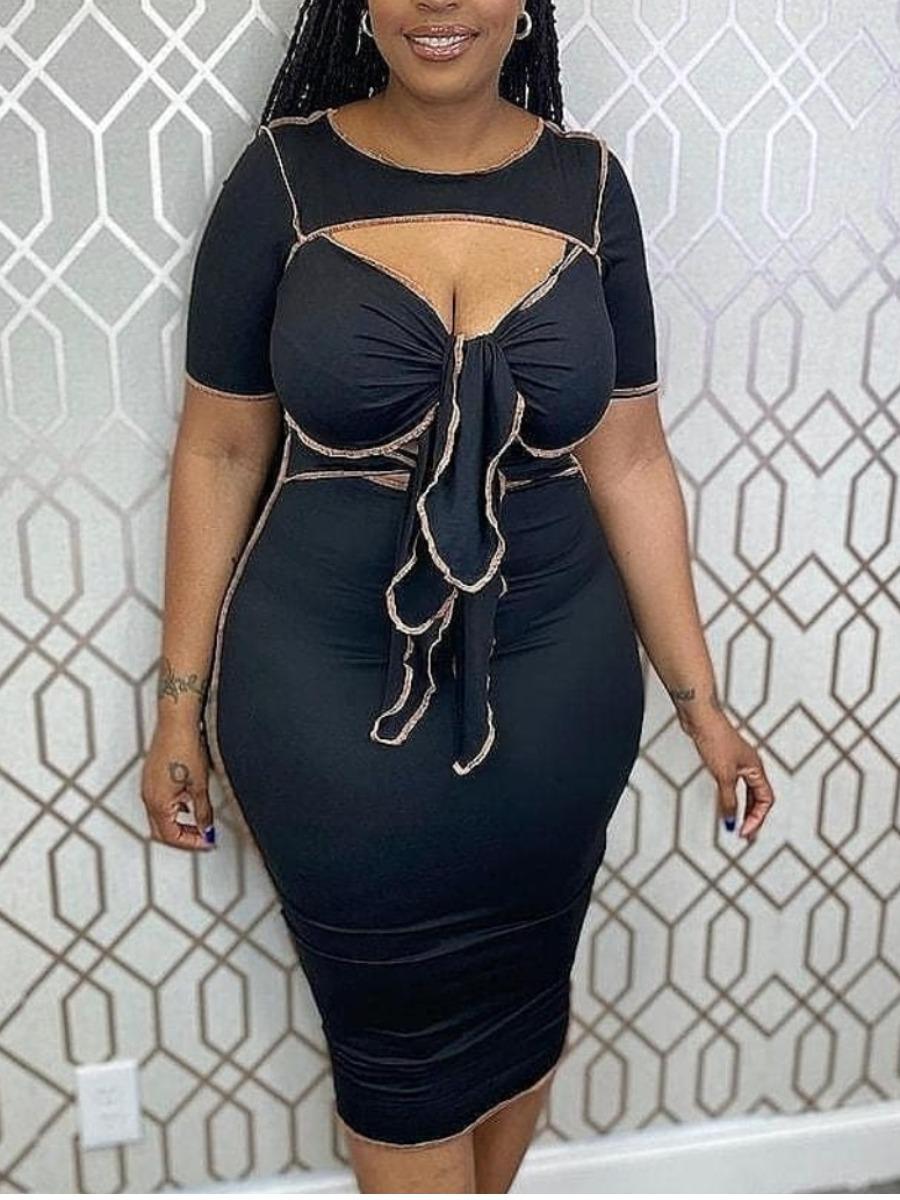 LW Plus Size Striped Bandage Design Bodycon Dress