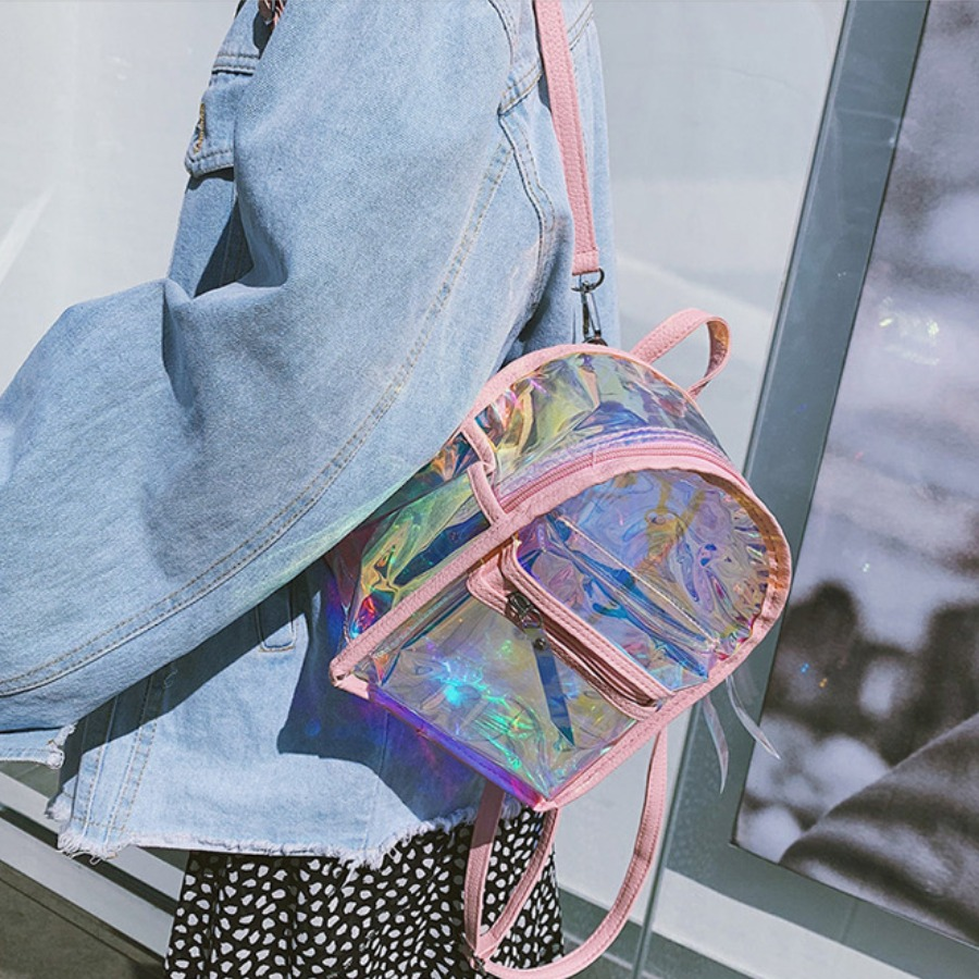 LW Clear Metal Accessories Decoration Backpack