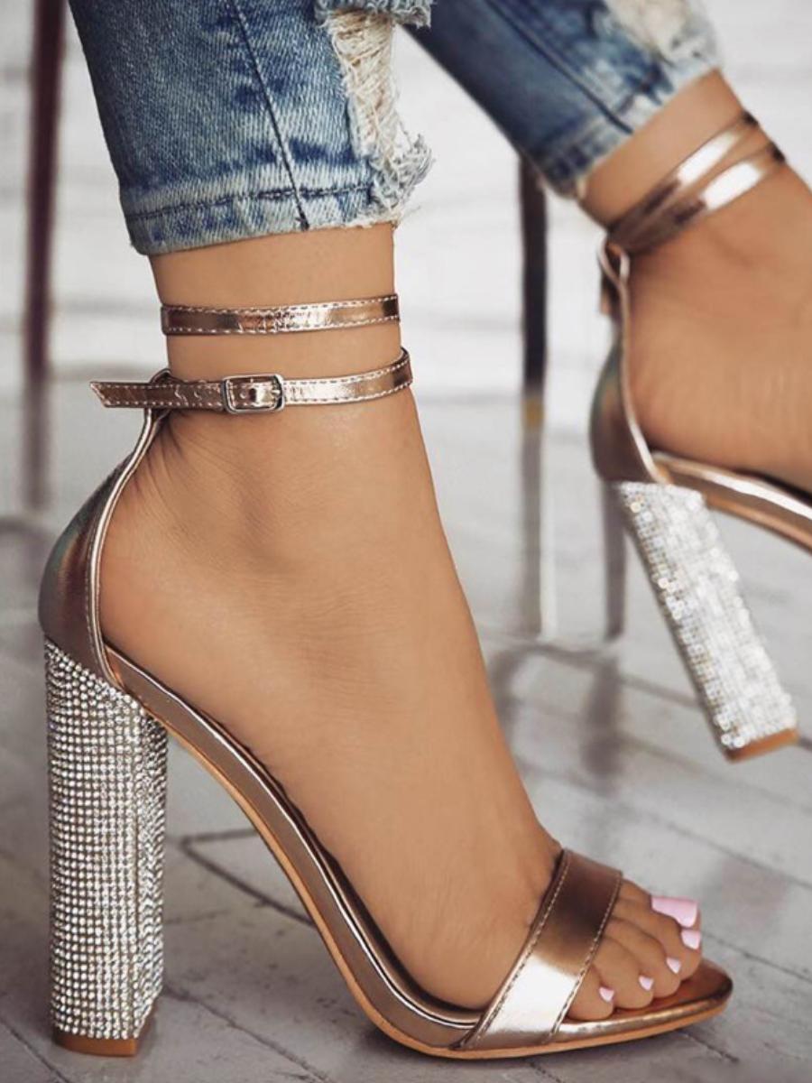 LW SXY Tie Leg Gold Heels
