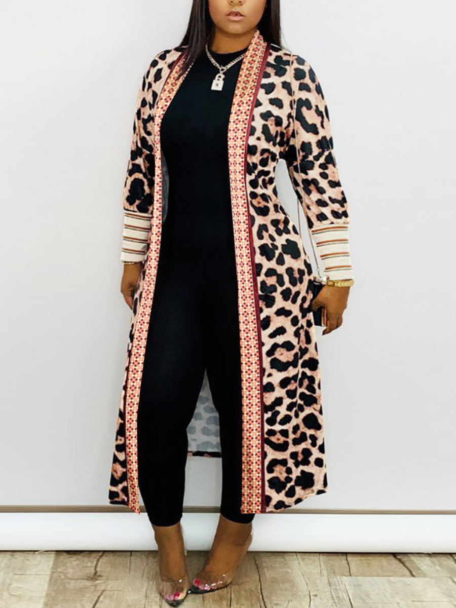 LW Leopard Print Striped Trench Coat