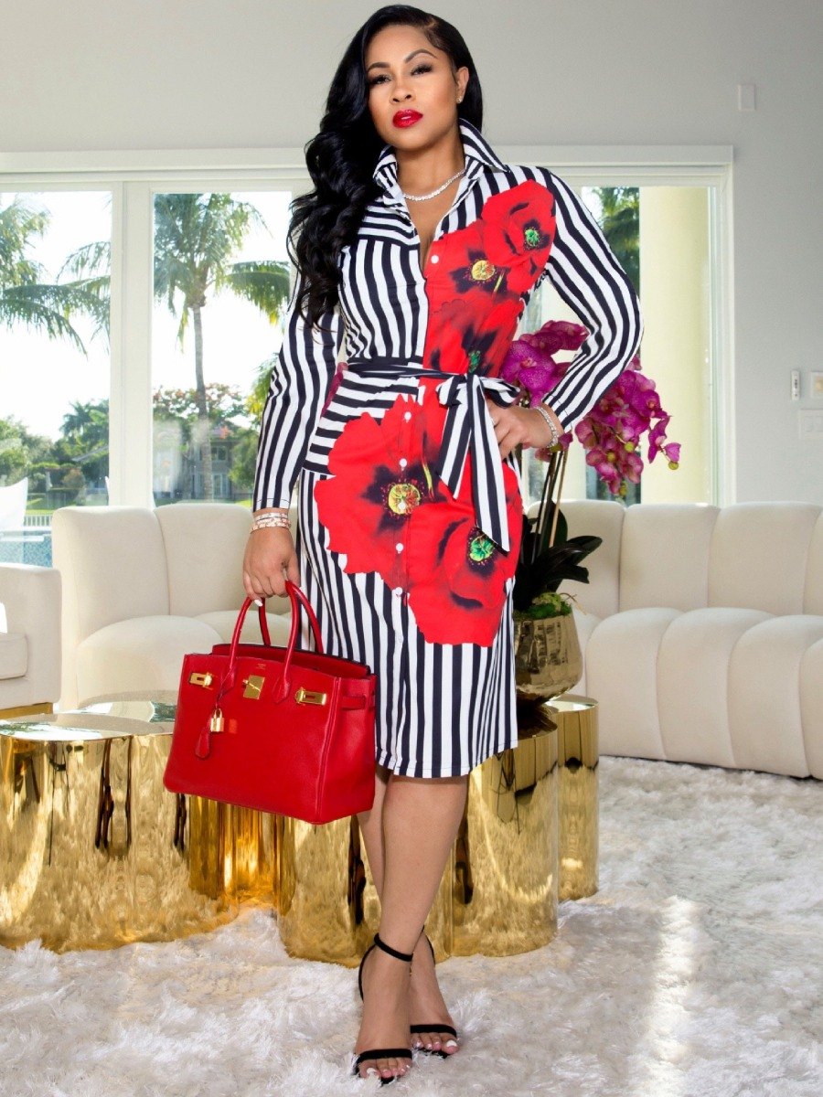 LW Floral Print Striped Shirt Dress
