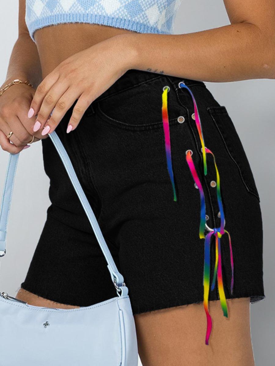LW Bandage Design Raw Edge Denim Shorts