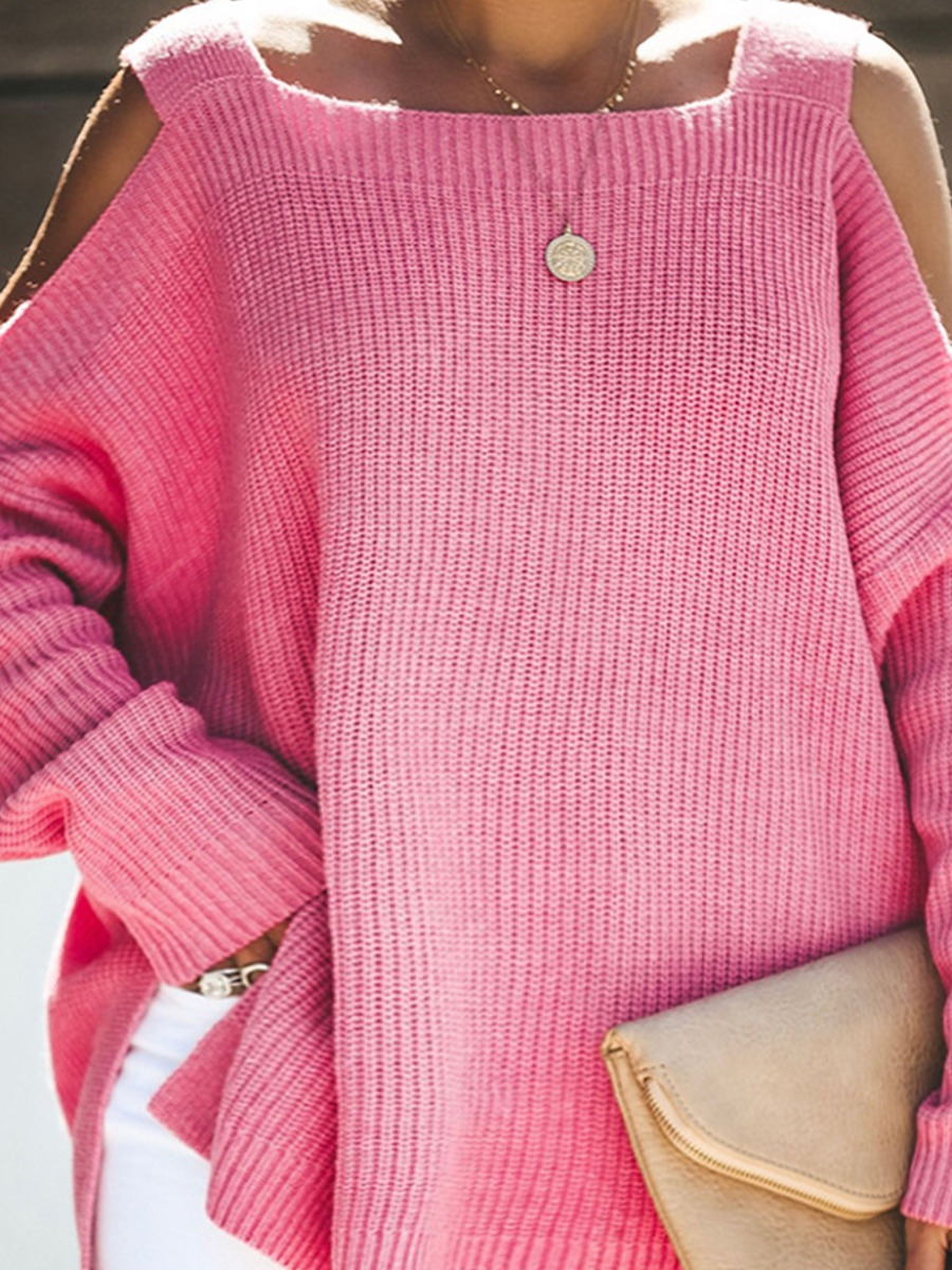 LW Plus Size Dropped Shoulder Side Slit Loose Sweater