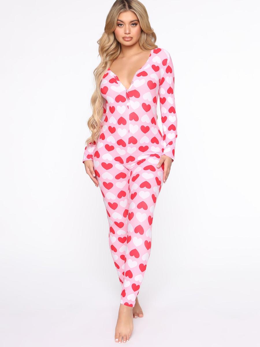 LW COTTON V Neck Heart Print Sleepwear
