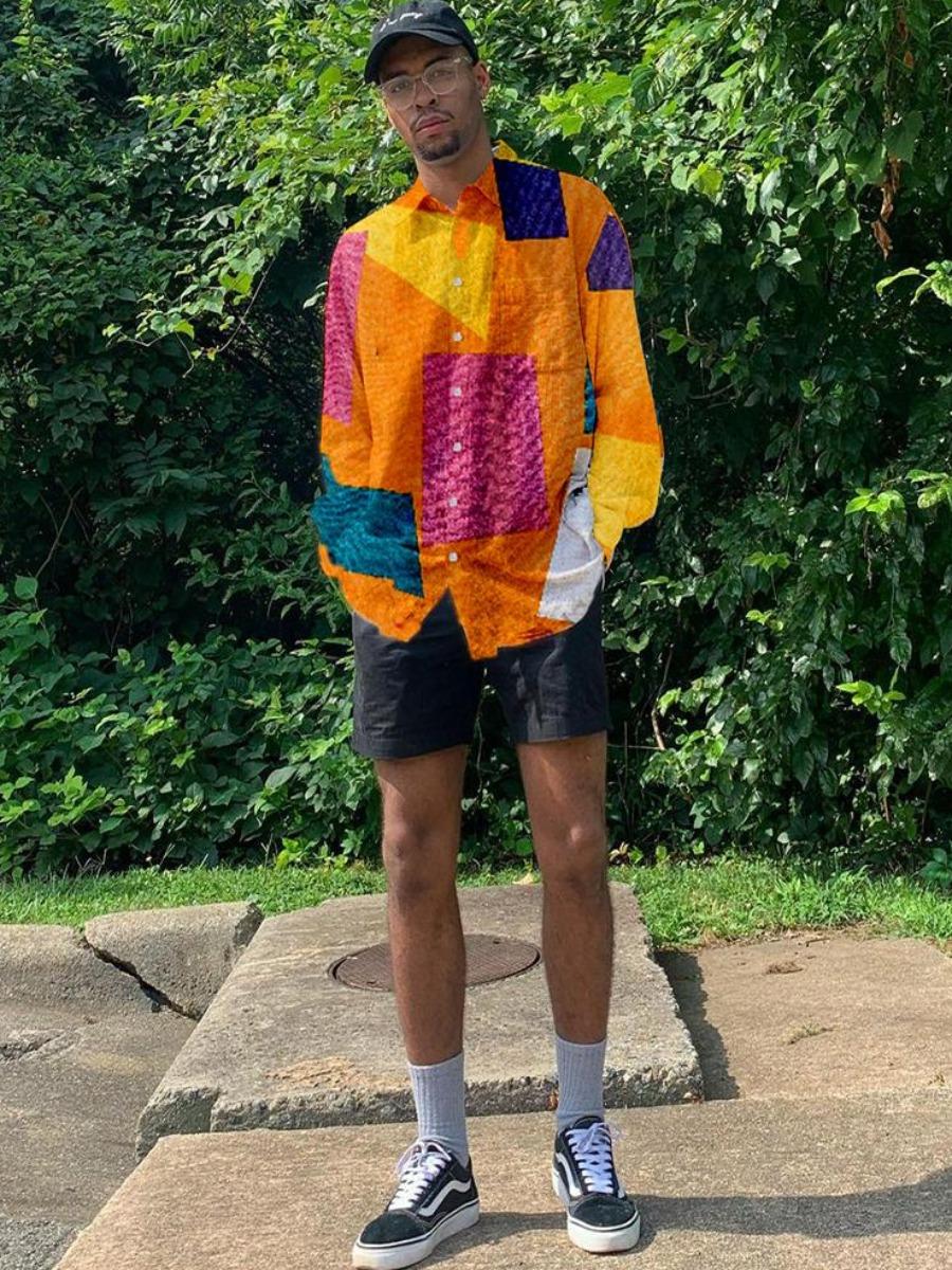 LW BASICS Men Color-lump Patchwork Shirt