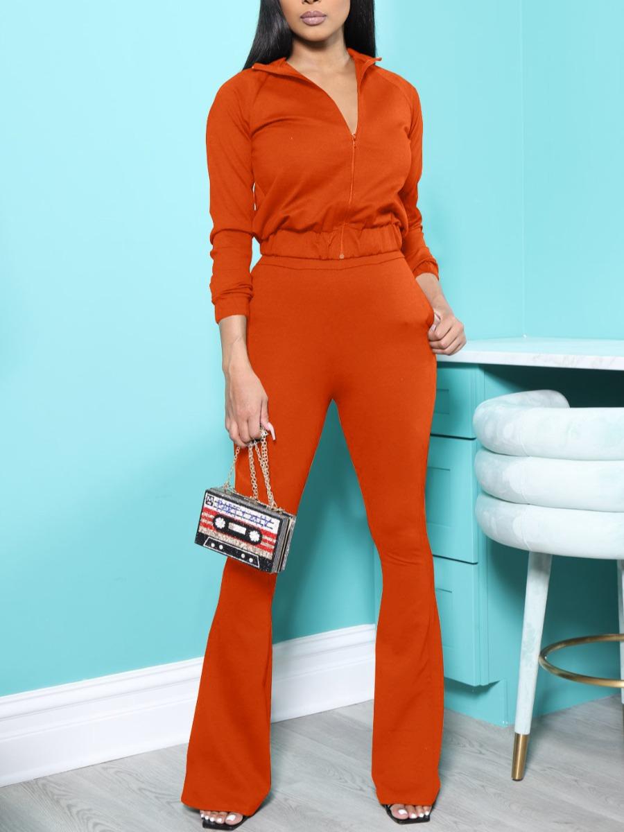 LW Zipper Design Flared Pants Set