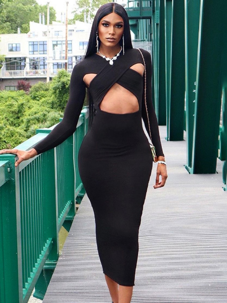 LW SXY Cross-over Hollow-out Design Bodycon Dress