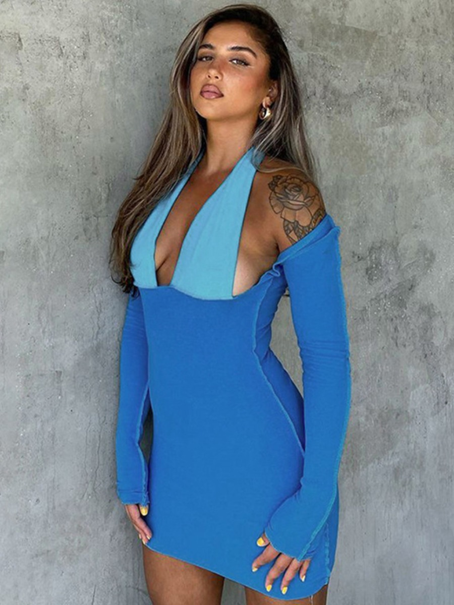 LW SXY Color-lump Hollow-out Bodycon Dress
