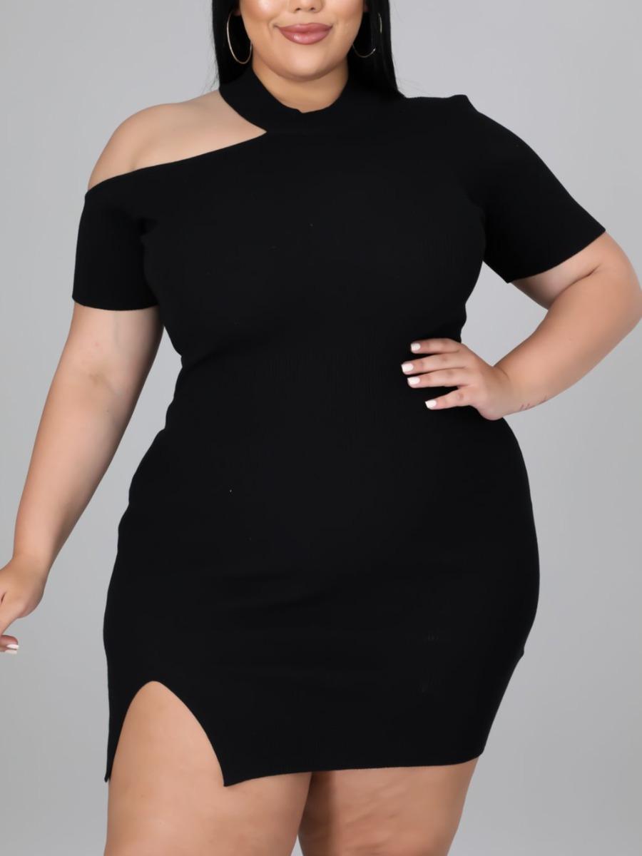 LW Plus Size One Shoulder Rib-Knit Slit Bodycon Dress