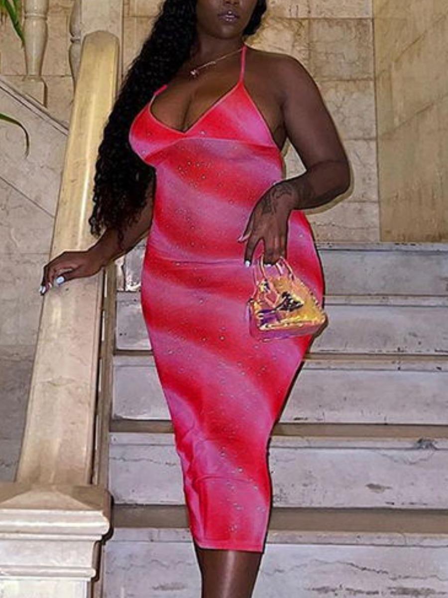 LW Plus Size Gradient Slit Cami Dress