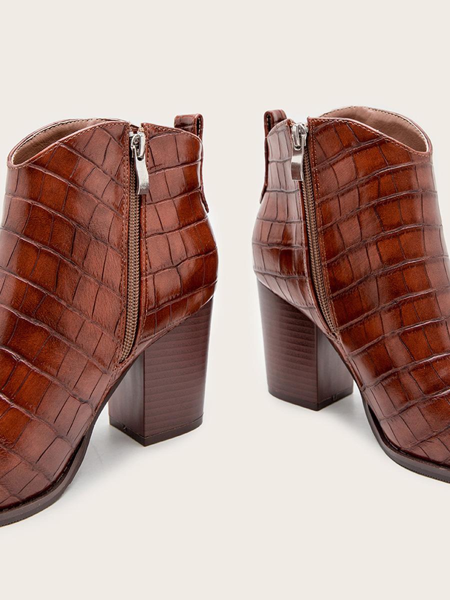Lovely Embossed Zipper Design Booties