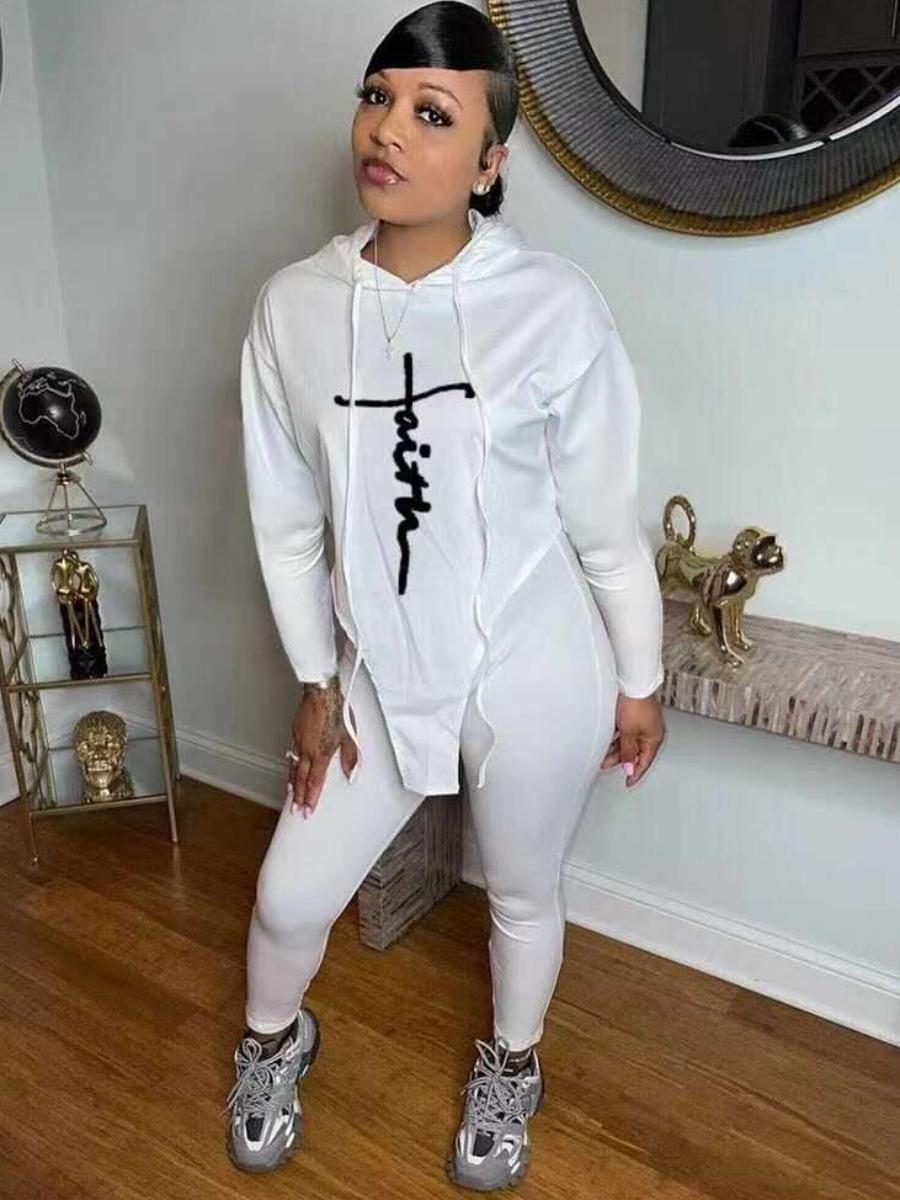 LW Hooded Collar Letter Print Sweatsuit Set