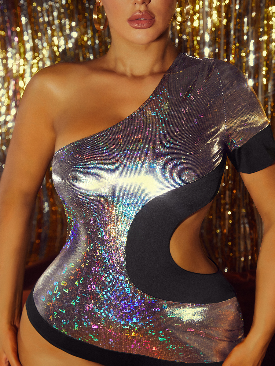 LW SXY Sequined Hollow-out Asymmetrical One-piece Jumpsuit