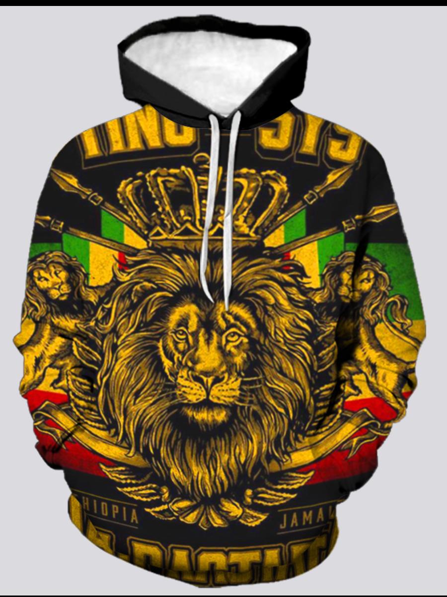 LW BASICS Men Lion Letter Print Oversized Hoodie