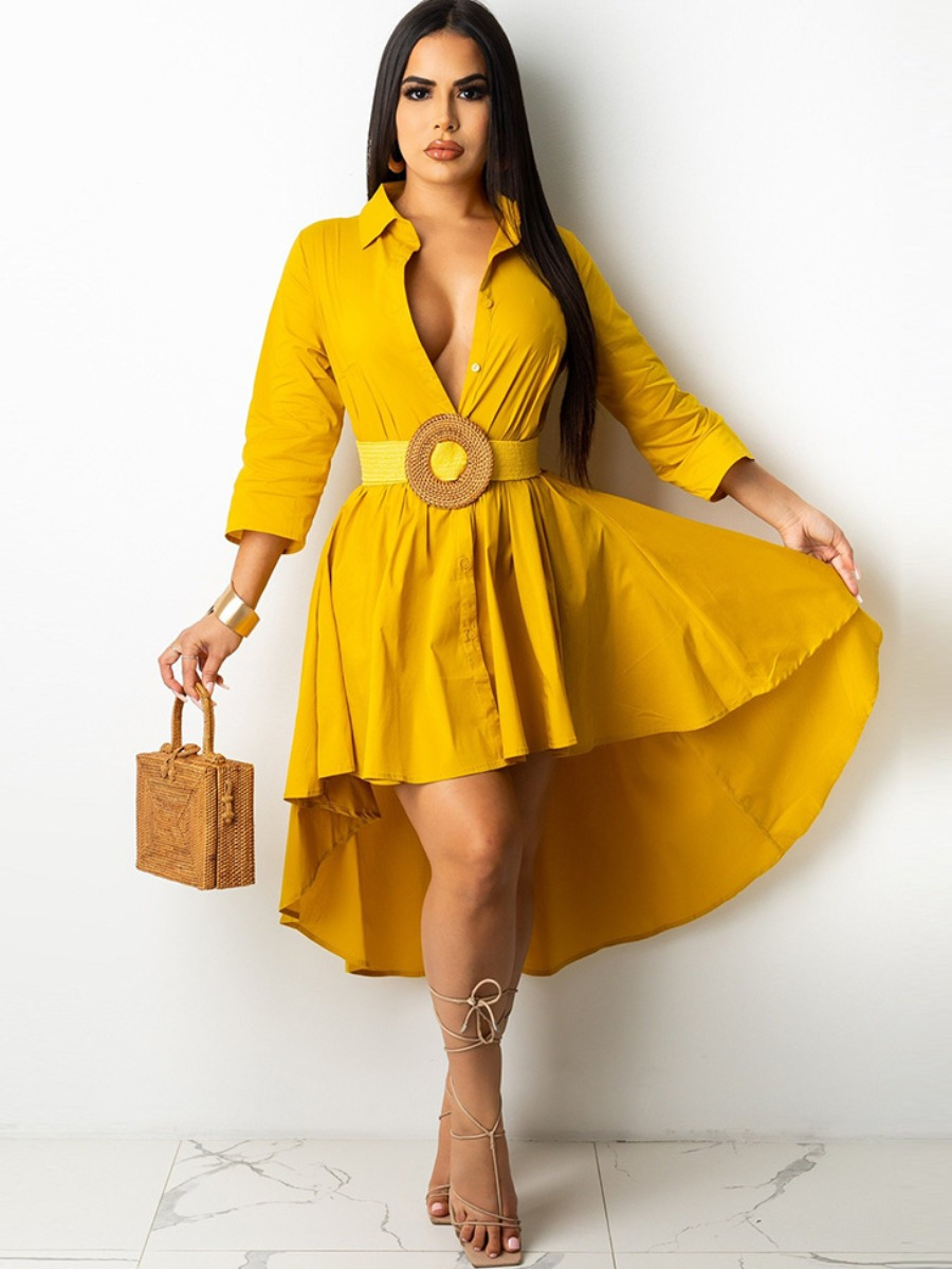 LW Turndown Collar A Line Asymmetrical Dress (Without Belt)