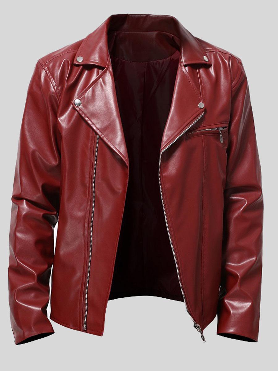 LW Men Turndown Collar Zipper Design Leather