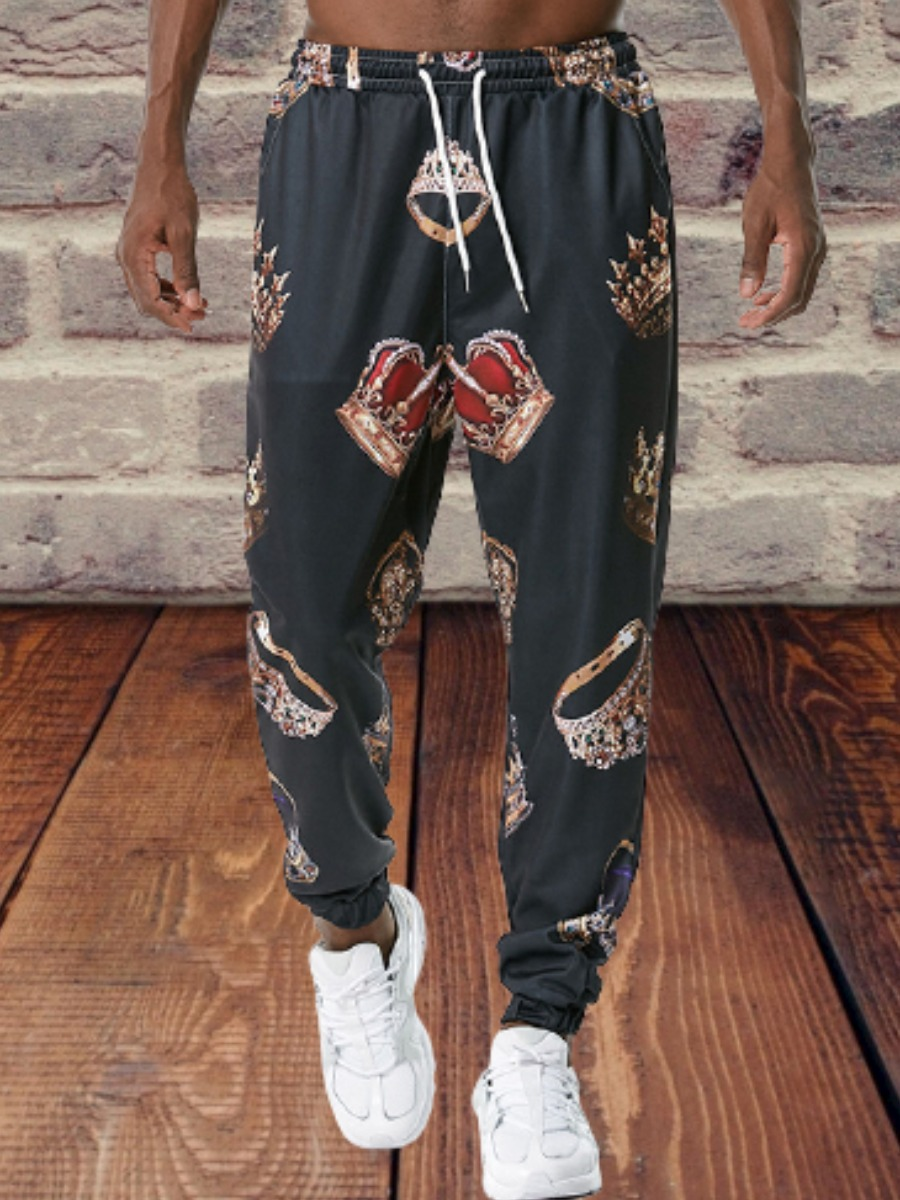 LW Men Crown Print Drawstring Pants