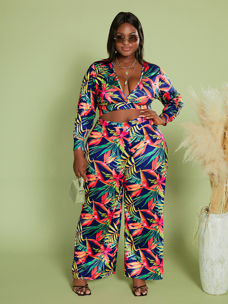 LW Plus Size Floral Print Wide Leg Pants Set