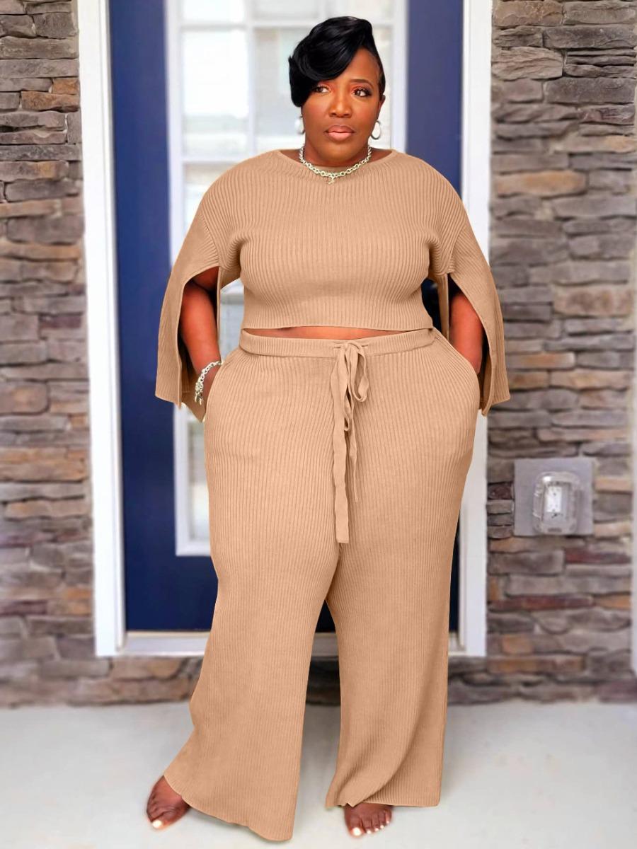 Lovely Plus Size Rib-Knit Slit Sleeve Pants Set