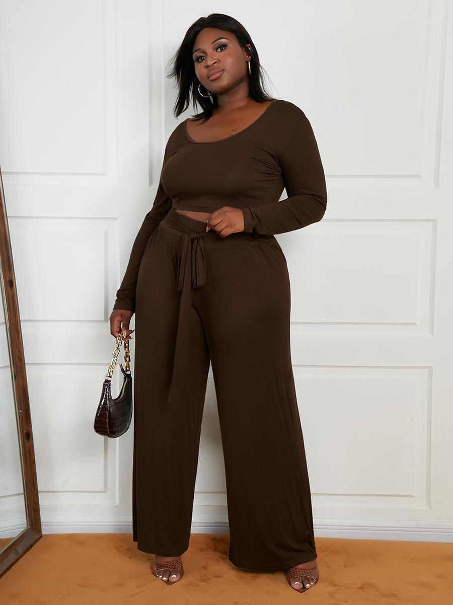 LW Plus Size Crop Top Wide Leg Pants Set
