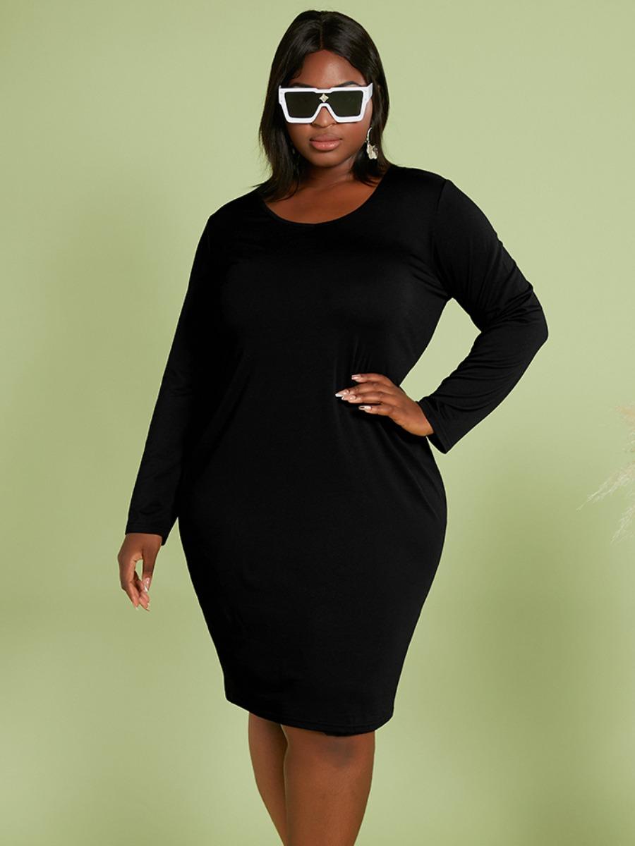 LW Plus Size Round Neck Bodycon Dress