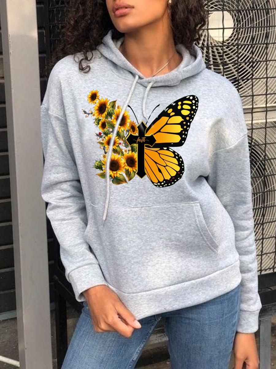 LW BASICS Floral Butterfly Print Hoodie