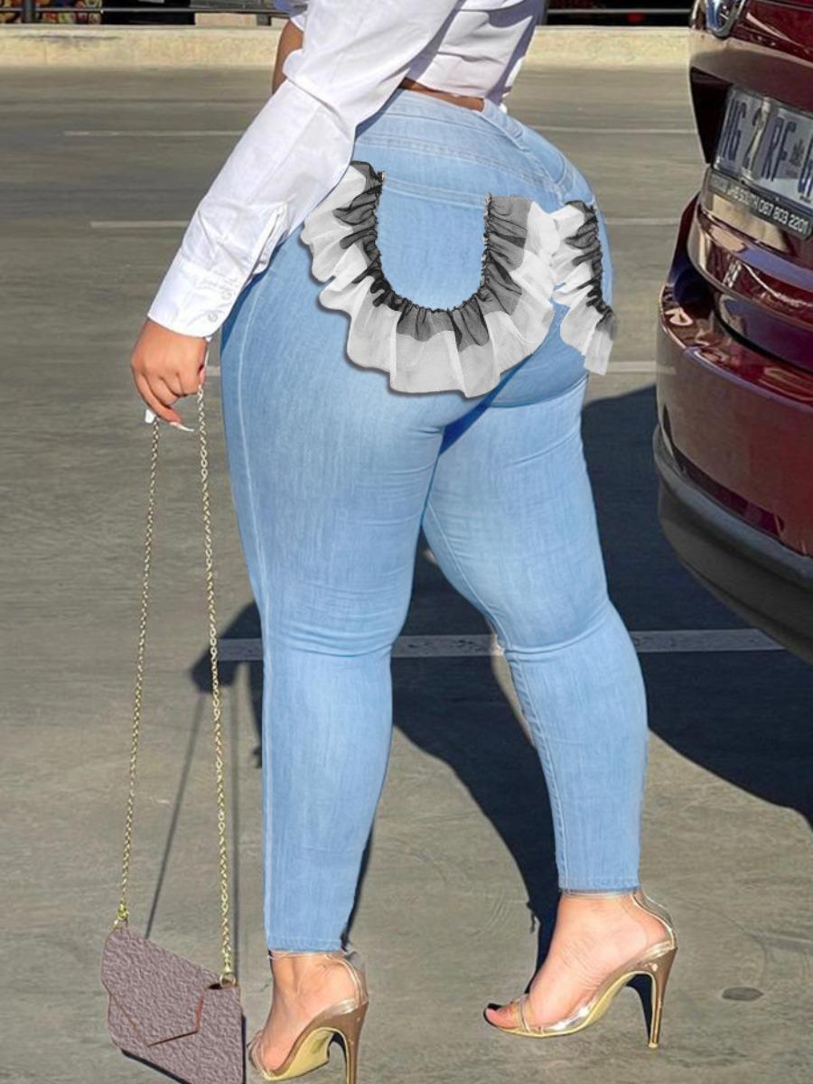LW Plus Size Flounce Design Patchwork Jeans