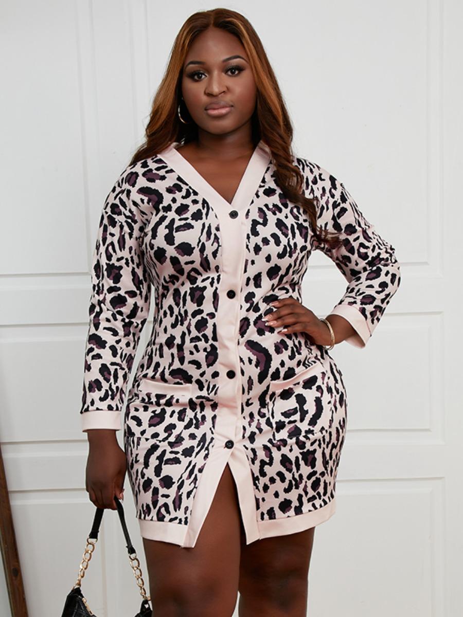 LW Plus Size Leopard Print Pocket Design Dress