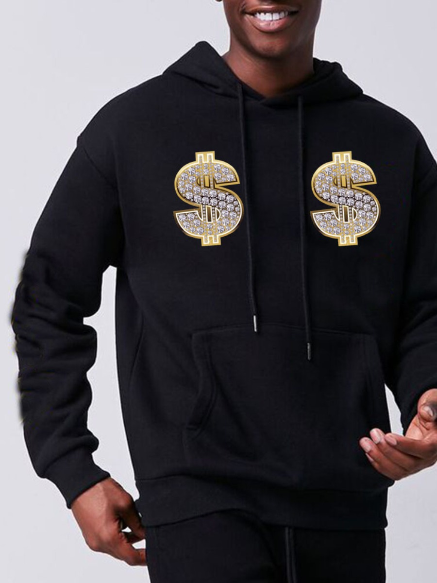 LW Men Money Print Kangaroo Pocket Hoodie