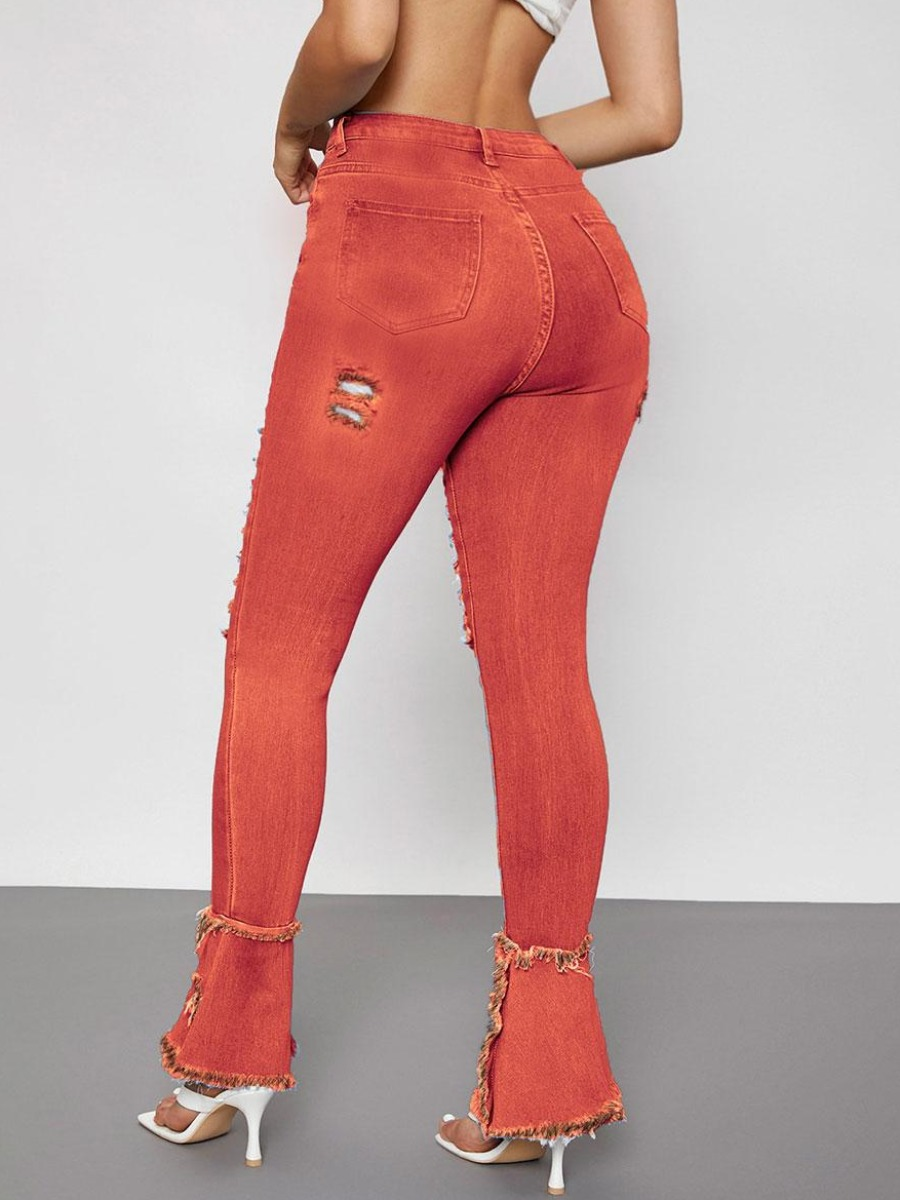 LW Ripped Raw Edge Flared Jeans