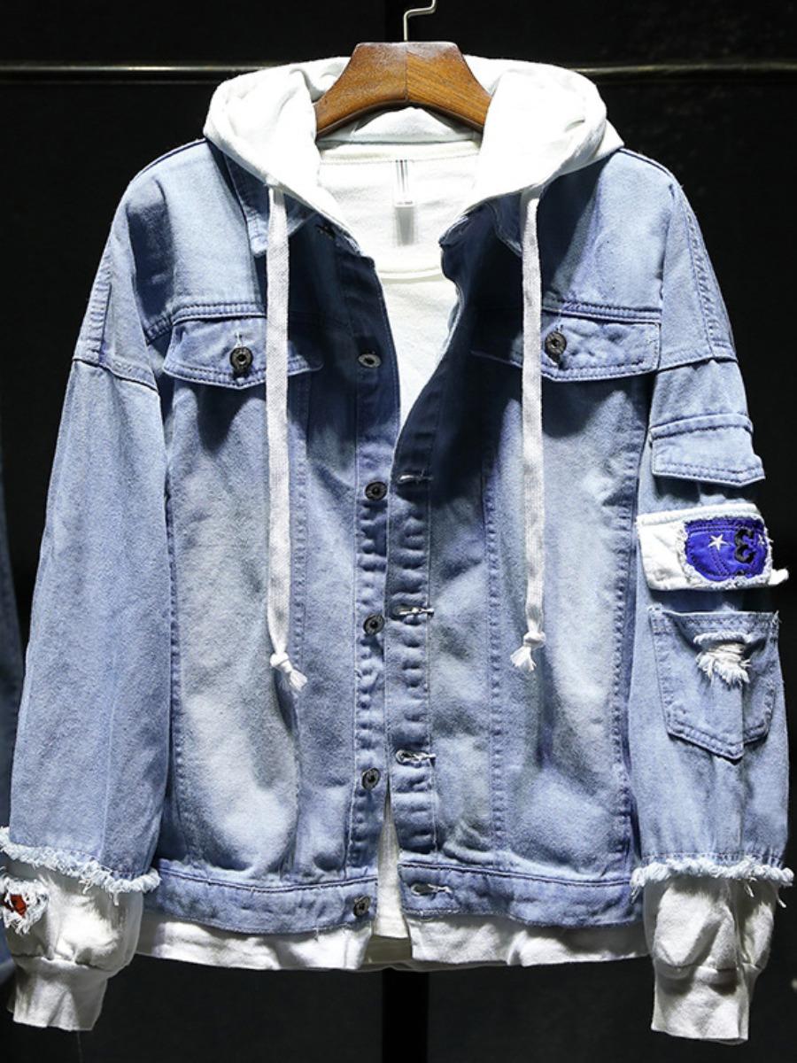 LW Men Hooded Collar Pocket Design Denim Jacket