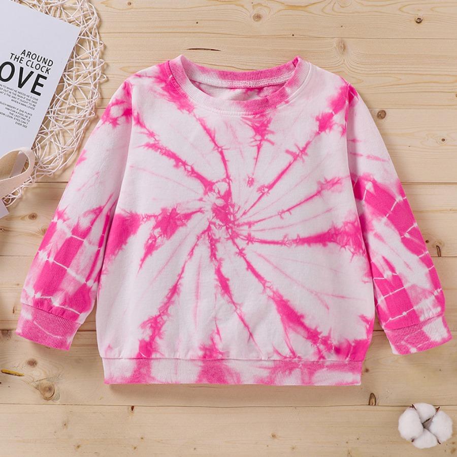 LW COTTON Girl Round Neck Tie-dye Sweatshirt