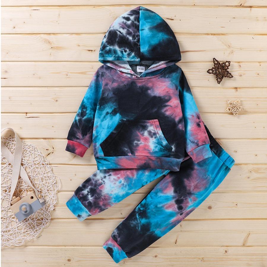 LW COTTON Girl Tie-dye Kangaroo Pocket Tracksuit Set