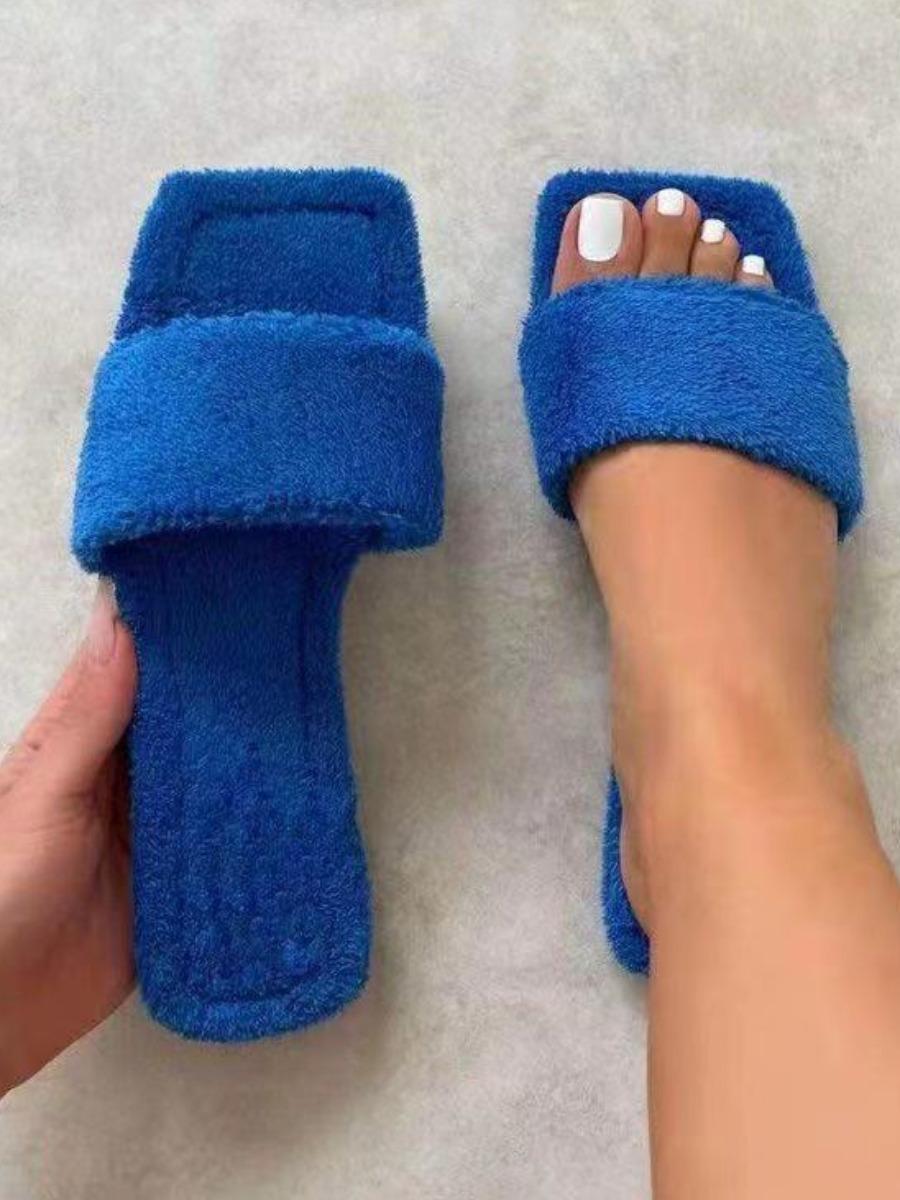 LW BASICS Square-toe Plush Slippers