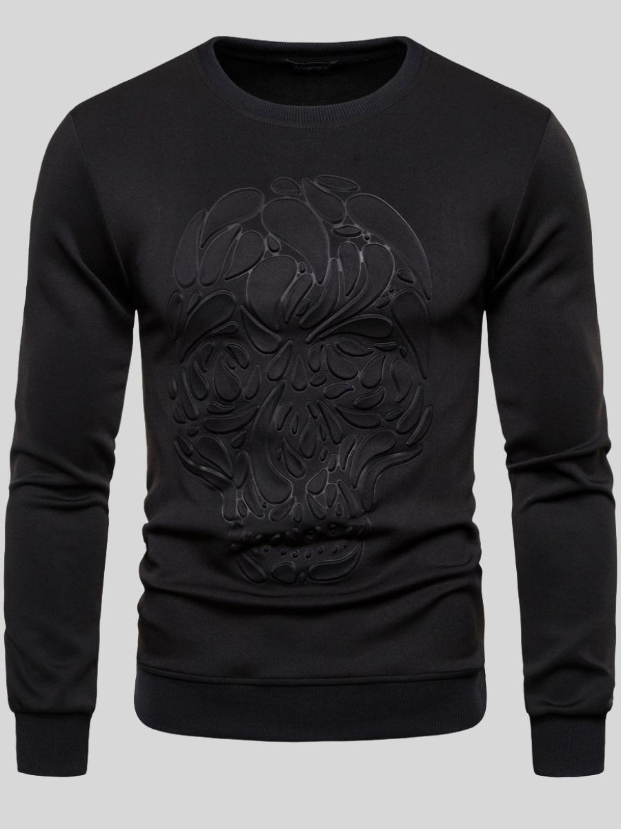 LW COTTON Men Round Neck Quilted Decoration Sweatshirt