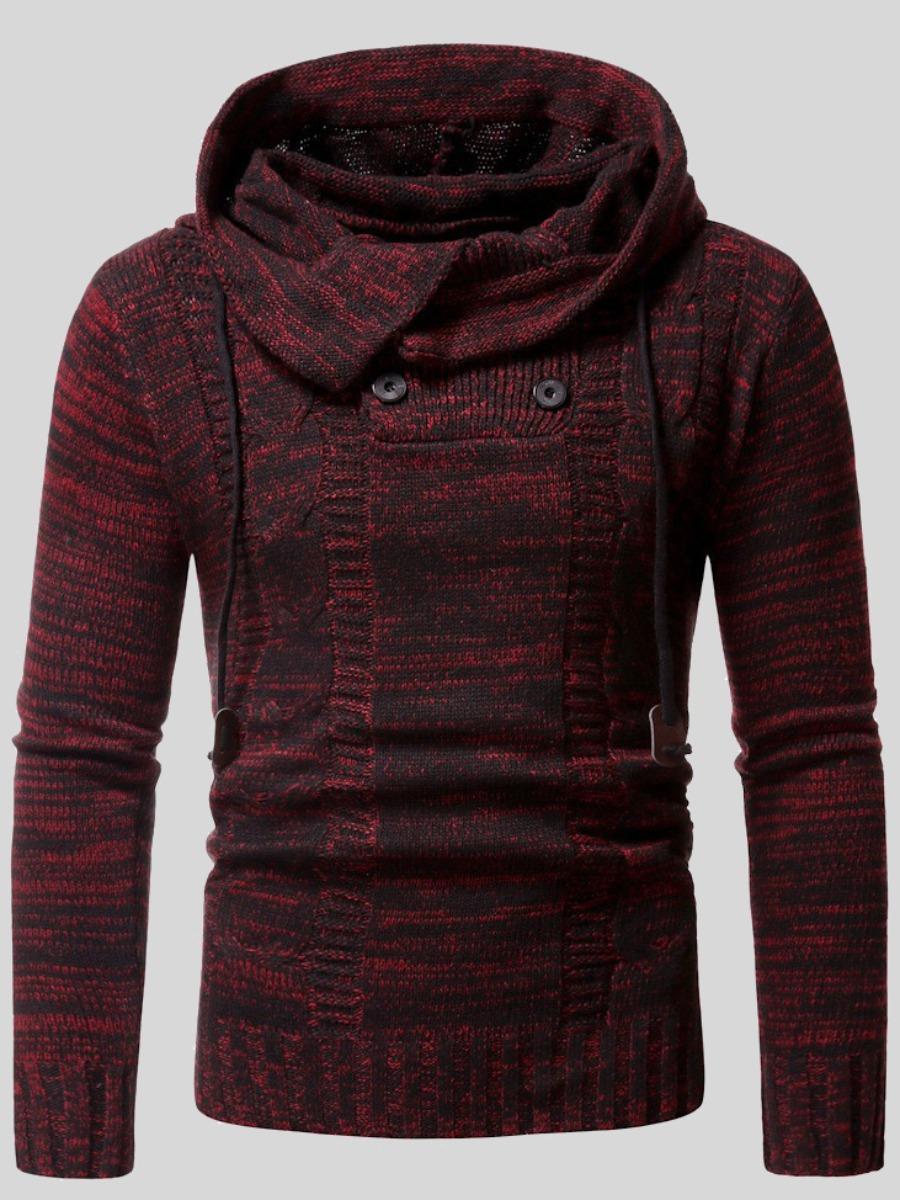 LW Men Hooded Collar Button Design Sweater