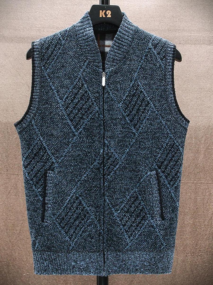 LW Men Diamond Pattern Pocket Design Sweater