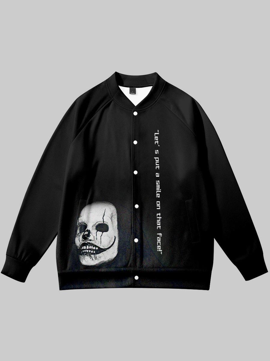 LW BASICS Men Polyester Skull Head Print Loose Jacket