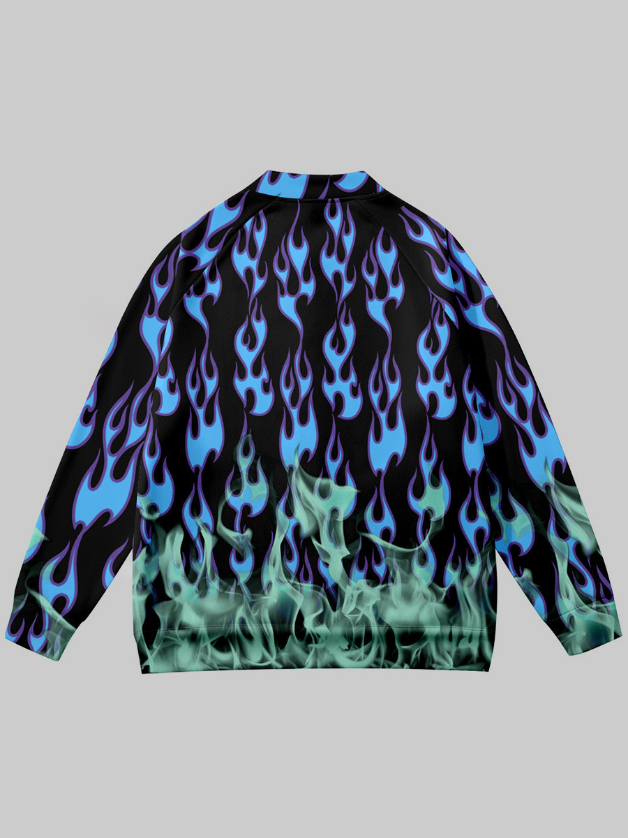 LW Men Flame Print Button Design Jacket