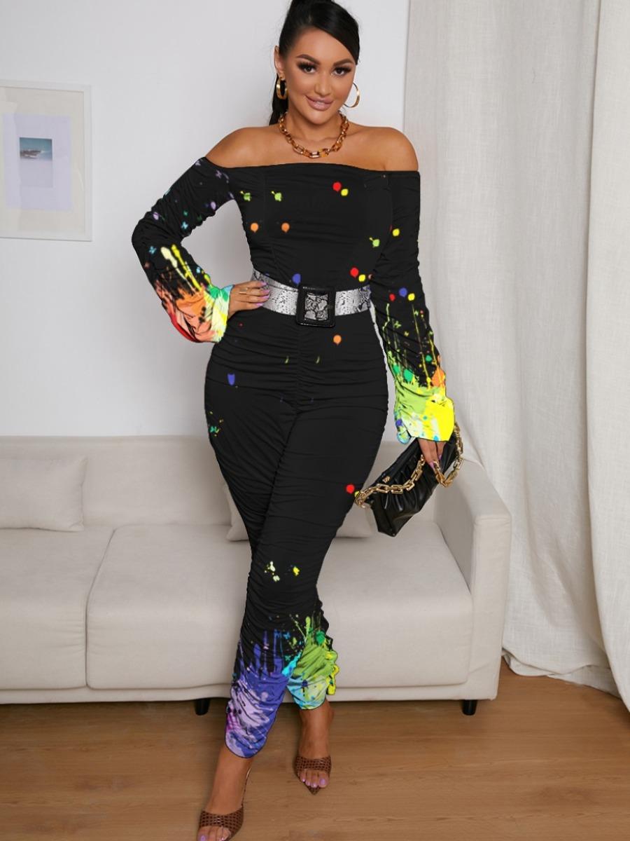 LW SXY Dot Ink-splash Ruched Jumpsuit