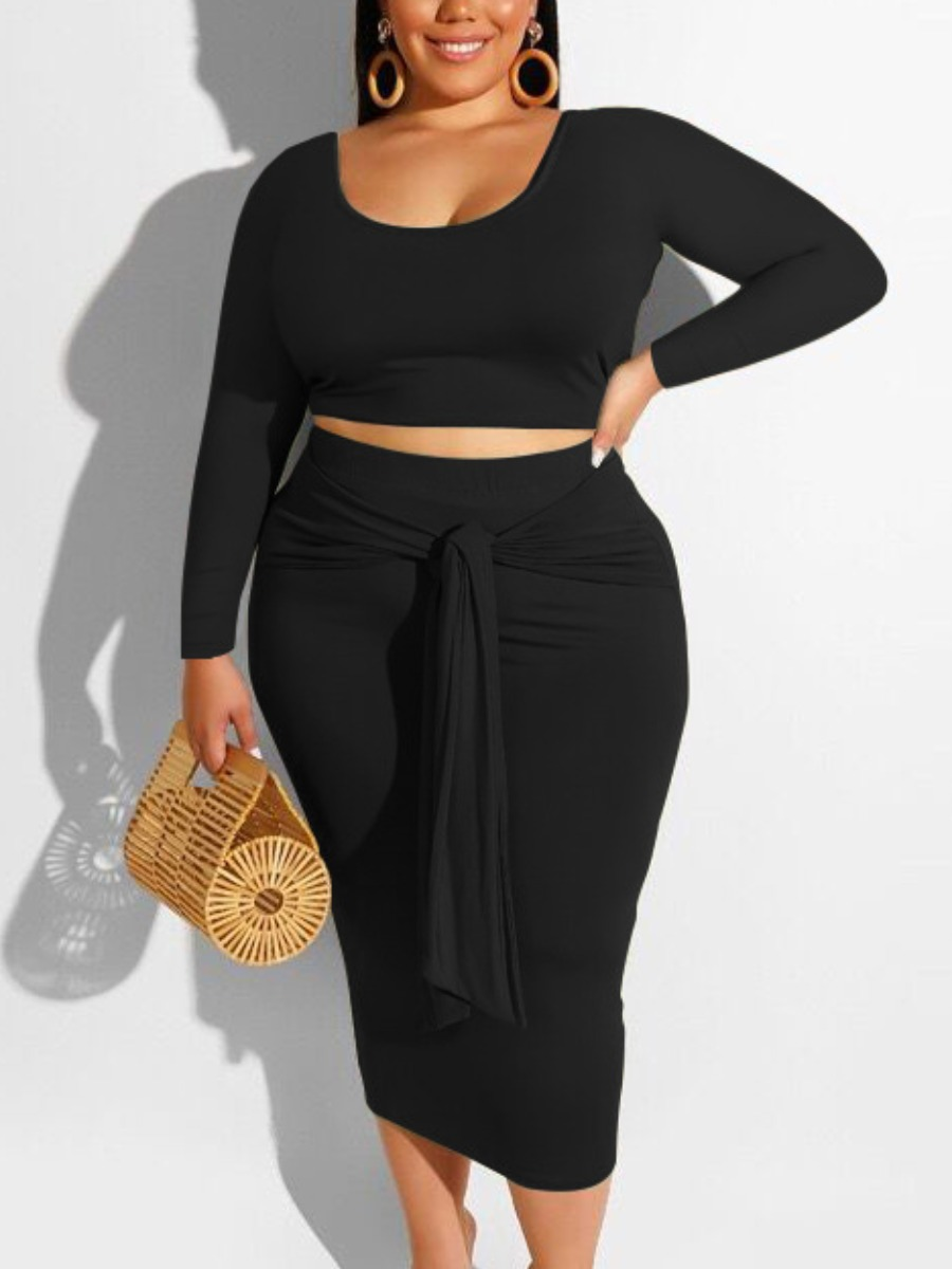 LW BASIC Plus Size U Neck Bandage Design Skirt Set