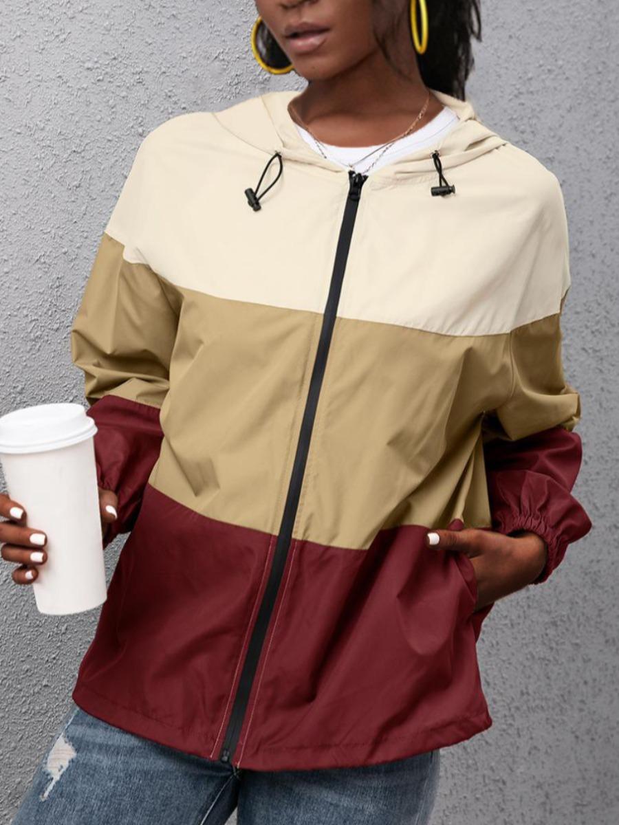 LW Color-lump Patchwork Zipper Design Hoodie